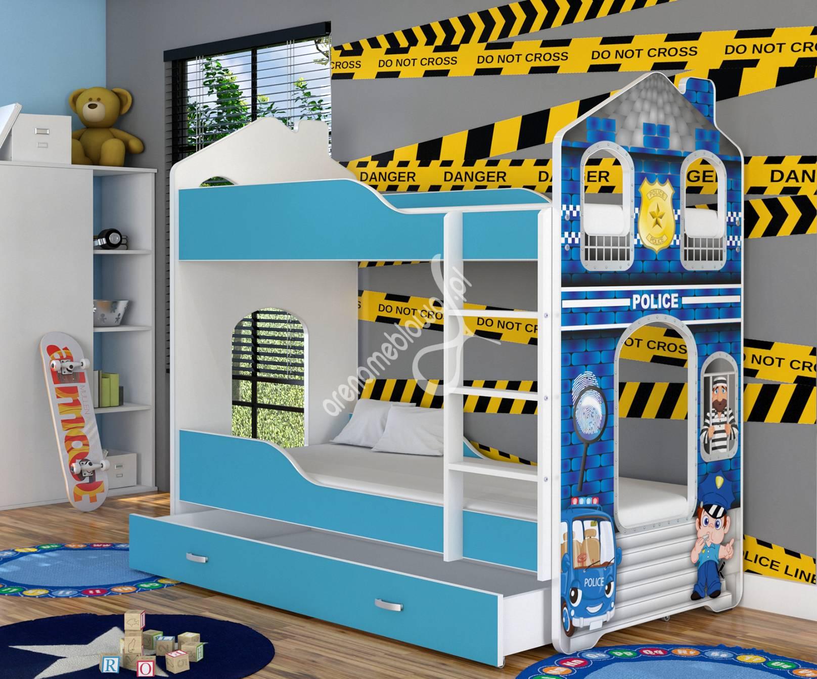 łóżko Piętrowe Domek Daniel 160 Z Grafiką Policja
